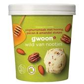 Gwoon biologisch roomijs  yoghurtsmaak met honing, pecan & amandel stukjes