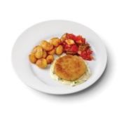 Culivers (57) visburger met preisaus, ratatouille en gebakken aardappeltjes