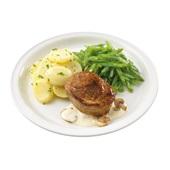 Culivers (48) varkensoester met champignonsaus, snijbonen en aardappelschijfjes met peterselie