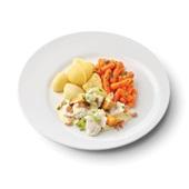 Culivers (126) Noordzee visserspannetje, worteltjes met peterselie en gekookte aardappelen zoutarm