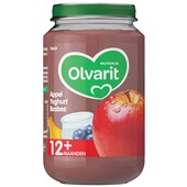 Olvarit baby/peuter fruithapje appel, yoghurt en bosbes