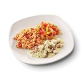 Culivers (66) roerbakstukjes in pestosaus, Toscaanse groentemix en griekse rijst