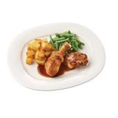 Culivers (28) drumsticks met kippenjus, sperziebonen en gekruide aardappelblokjes