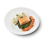 Culivers (125) gebakken zalmfilet met Normandische saus, bladspinazie en aardappelpuree met bieslook zoutarm