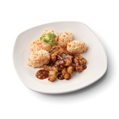 Culivers (132) gegrilde vegastukjes in uiensaus met hutspot zoutarm