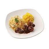 Culivers (71) vegetarische balletjes in ketjapsaus, atjar ananas en bami goreng