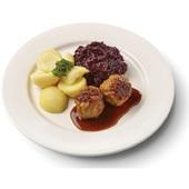 Culivers (116) gehaktballen in jus met rode kool met appeltjes en gekookte aardappelen