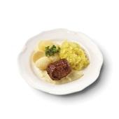 Culivers (8) rundervink met mosterdsaus, gestoofde spitskool en gekookte aardappelen
