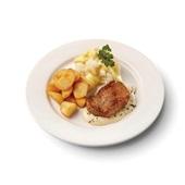 Culivers (43) hamlapje in pepersaus met  gebakken roty aardappelen en bloemkool met bechamel-kerrie
