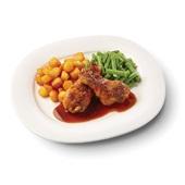 Culivers (98) drumsticks in kippenjus met sperziebonen en gebakken aardappeltjes