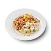 Culivers (119) zalm en kabeljauw in mosterdsaus met groentemix en volkoren spaghetti