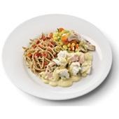 Culivers (52) zalm en kabeljauw in mosterdsaus met groentemix en volkoren spaghetti voorkant