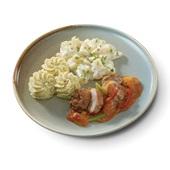Culivers (2) gebakken kippendijrolletje in stroganoffsaus met asperges à la crème en aardappelpuree met truffeltapenade voorkant