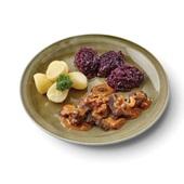 Culivers seizoensmaaltijd wildragout, rode kool met appel en gekookte aardappelen