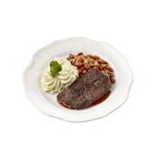 Culivers (81) sucadelapje met jus, bruine bonen met spek en aardappelpuree zoutarm