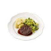 Culivers (79) rundertartaartje met jus, gesmoorde prei en gekookte aardappelen Zoutarm