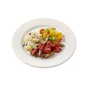 Culivers (109) babi pangang, pikante groenten met ananas en nasi goreng zoutarm