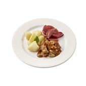 Culivers (110) varkensvlees in honing-mosterdsaus, stoofpeertjes en gekookte aardappelen zoutarm