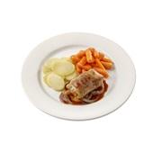 Culivers (119) slavink met uienjus, worteltjes en gekookte aardappelschijfjes Zoutarm
