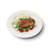 Culivers (114) varkenslapje met jus, sperziebonen en aardappelpuree met tuinkruiden zoutarm voorkant