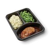 Culivers (114) varkenslapje met jus, sperziebonen en aardappelpuree met tuinkruiden zoutarm achterkant
