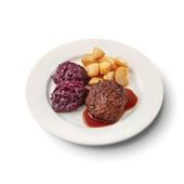 Culivers (115) gehaktbal in jus, rodekool met appeltjes en gebakken roty aardappelen zoutarm