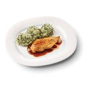 Culivers (101) kipfilet in uienjus met andijviestamppot zoutarm