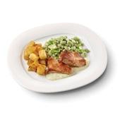 Culivers (94) kalkoenbiefstuk in dragonsaus, tuinbonen met ui en tijm en gebakken aardappelblokjes zoutarm
