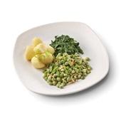 Culivers (132) kapucijners met amandel en dragon, bladspinazie en gekookte aardappelen zoutarm