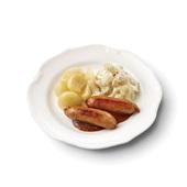 Culivers (16) kalfssaucijsjes met honing-mosterdsaus, bloemkool à la crème en gekookte aardappelen