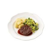 Culivers (4) rundertartaartje met jus, gesmoorde prei en gekookte aardappelen
