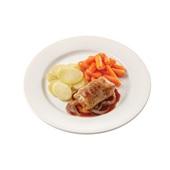 Culivers (51) slavink met uienjus, worteltjes en gekookte aardappelschijfjes