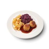 Culivers (47) gehaktbal in jus, rodekool met appeltjes en gebakken roty aardappelen