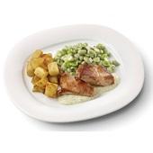 Culivers (24) kalkoenbiefstukjes in dragonsaus, tuinbonen met ui en tijm en gebakken aardappelblokjes