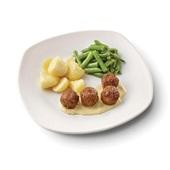 Culivers (75) vegetarische balletjes in romige mosterdsaus met sperziebonen en gekookte aardappelen