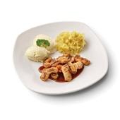 Culivers (74) gegrilde vegastukjes in vegetarische jus, gesmoorde zuurkool en aardappelpuree