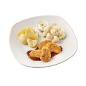 Culivers (70) vegetarische nuggets met honing-mosterdsaus, bloemkool à la crème en gekookte aardappelen