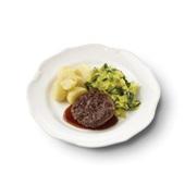 Culivers (1) rundertartaartje met jus, gesmoorde prei en gekookte aardappelen gluten- en lactosevrij
