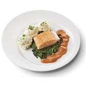 Culivers (17) gebakken zalmfilet met normandische saus, bladspinazie en aardappelpuree met bieslook gluten- en lactosevrij