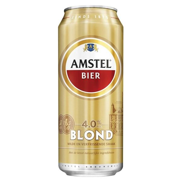 Amstel Blond Bier Blik 50 Cl voorkant