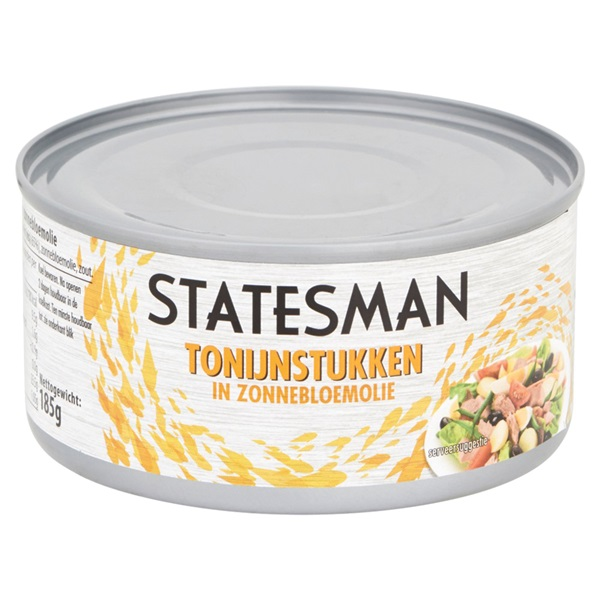 Statesman Tonijnstukken In Zonnebloemolie achterkant
