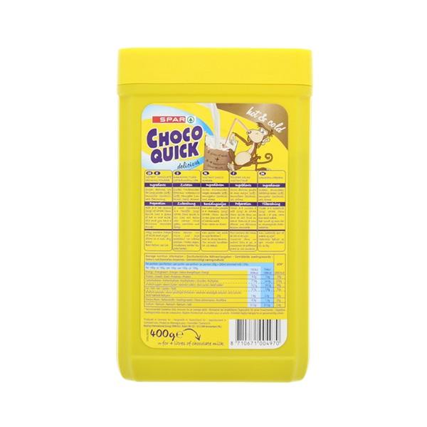 Spar Chocolademelk Quick achterkant