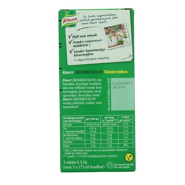 Knorr Drinkbouillon Tuinkruiden achterkant