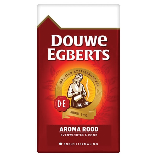 Douwe Egberts fijne maling filterkoffie aroma rood voorkant