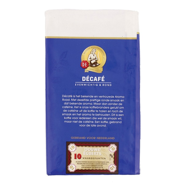 Douwe Egberts Décafé filterkoffie aroma rood cafeïnevrij achterkant