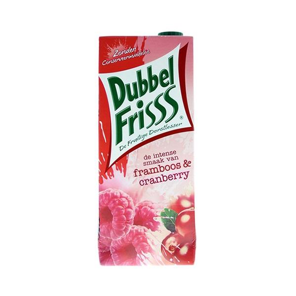 DubbelFrisss Vruchtendrank framboos cranberry voorkant