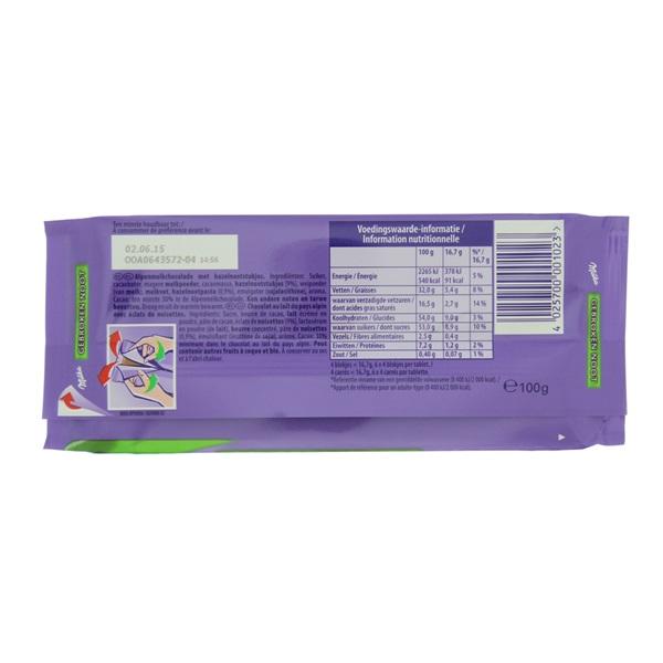 Milka Chocolade Tablet Gebroken Noot achterkant