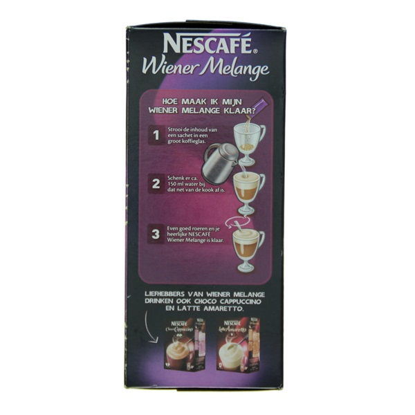 Nescafé Oploskoffie Wienermelange achterkant