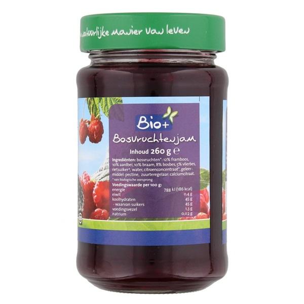 Bio+ Jam Bosvruchten achterkant
