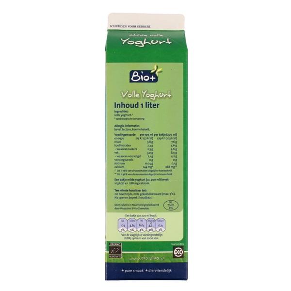 Bio+ Yoghurt Mild achterkant